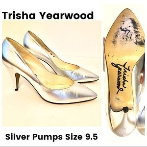 Shoes - Silver Pumps Stage Shoes Size 9.5 Heels 1980s 90s